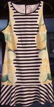 Size 8 Black White Striped w/ Fruits ELLE Striped Flounce-Hem Dress Elle... - $29.95