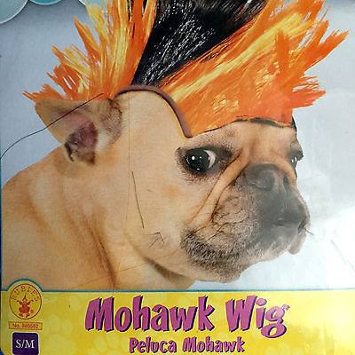 Mohawk Wig Rubies Pet Shop Boutique Orange Black Small Medium Dog Halloween
