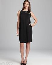 ADRIANNA PAPELL Black Faux Leather Yoke Pleated Dress - NWT - SIZE US 8 - $59.90