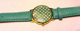 Geneva Platinum Teal Polka Dots  Leather Dial Face Gold Bezel Watch Strap Band - $12.86