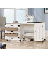 Modern White Sewing Craft Table Working Space Drop Leaf Shelves Door Sto... - $199.99
