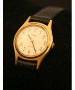 Very nice ladies' gold dress quartz Pulsar by Seiko wristwatch, leather ... - $40.00