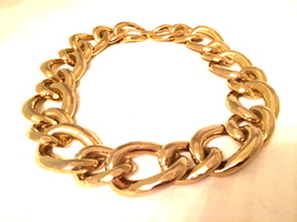 Bold Golden Link Chain Metal Choker Necklace True vintage jewelry 80s 90s  - $45.00