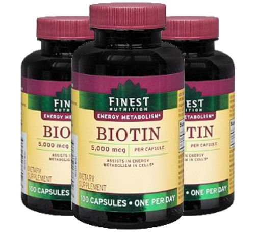 Finest Nutrition Biotin 5000 mcg, 3 Pack! 100 Capsules by Finest Nutrition