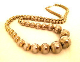 Gradual Balls Bold Dots Golden Metal wired Long Necklace True vintage je... - $60.00