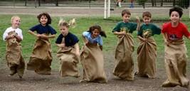 4 - Leap Frog Potato Sack Rack Burlap Bags - Carnival Games Birthday Rel... - ₨1,523.42 INR