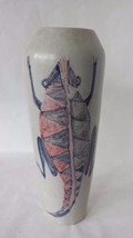 Handmade Carved Vessel Vase Outsider Art Studio Pottery Blue Alligator 1... - $128.69
