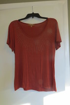 Women's shirt top blouse, Ellen Tracy, size Large, rust with sequins, MA... - $6.49