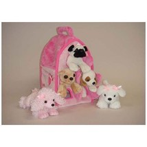 Plush Pink Dog House with Dogs - Five 5 Stuffed Animal Dogs in Pink Play... - $30.58