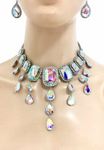 Statement Evening Necklace Earrings Iridescent Aurora Borealis Crystal P... - $41.80