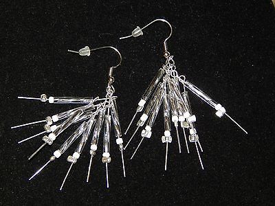 NEW HAND MADE SILVER STICKS PIERCED EARRINGS-STERLING SILVER, WHITE, CLEAR BEADS image 6