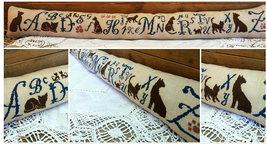 R-32A Kitty Alphabet Sampler chart + Paw Charm cross stitch chart Rovaris   - $12.00