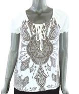 7 Wonders Raglan Sleeve Top Off White Brown Gauze Look Tie Neck Misses S... - $19.95