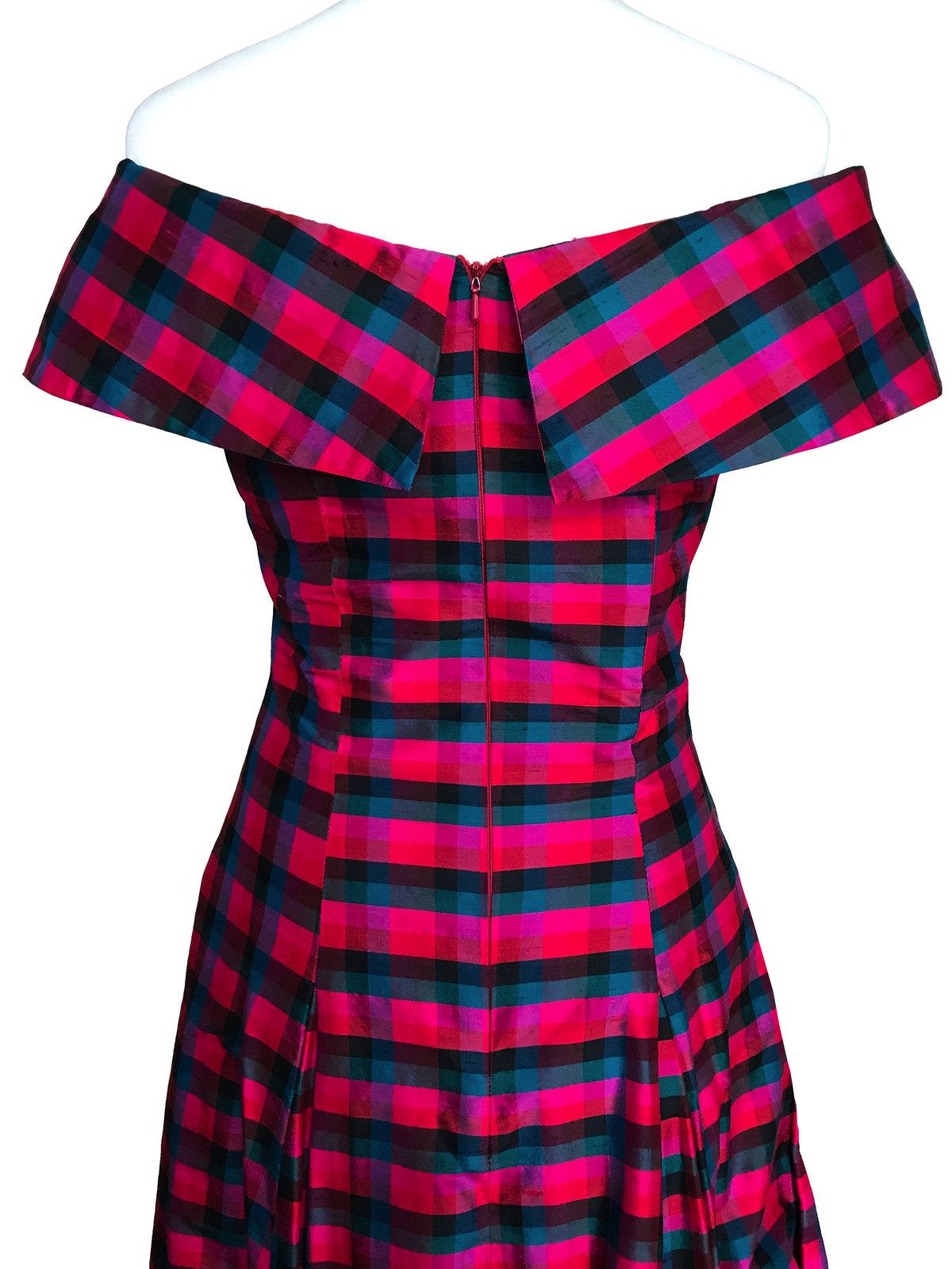 80s does 50s 100% Silk Monsoon Twilight Tartan Plaid Check Off Shoulder Dress