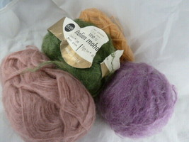 Vintage 4 colors of Mohair yarn 1 is Sears Italian 1 Bucilla Melody 50% acrylic - $11.77