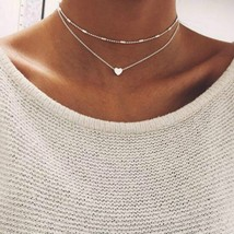2019 Simple Love Heart Choker Necklace For Women Multi Layer Beads Chock... - $7.86