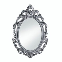 Royal Crown Swirls &  Flourishes Burnished Silver Frame Oval Wall Mirror - $33.90