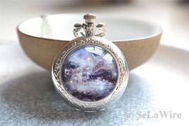Moon Pocket Watch-Mystery Galaxy Watch Necklace-Photo Quartz Watch Jewel... - $8.99+