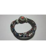 "8"" BEAUTIFUL coral blue white floral 18mm-20mm Button snap bracelet w pe... - $5.99"