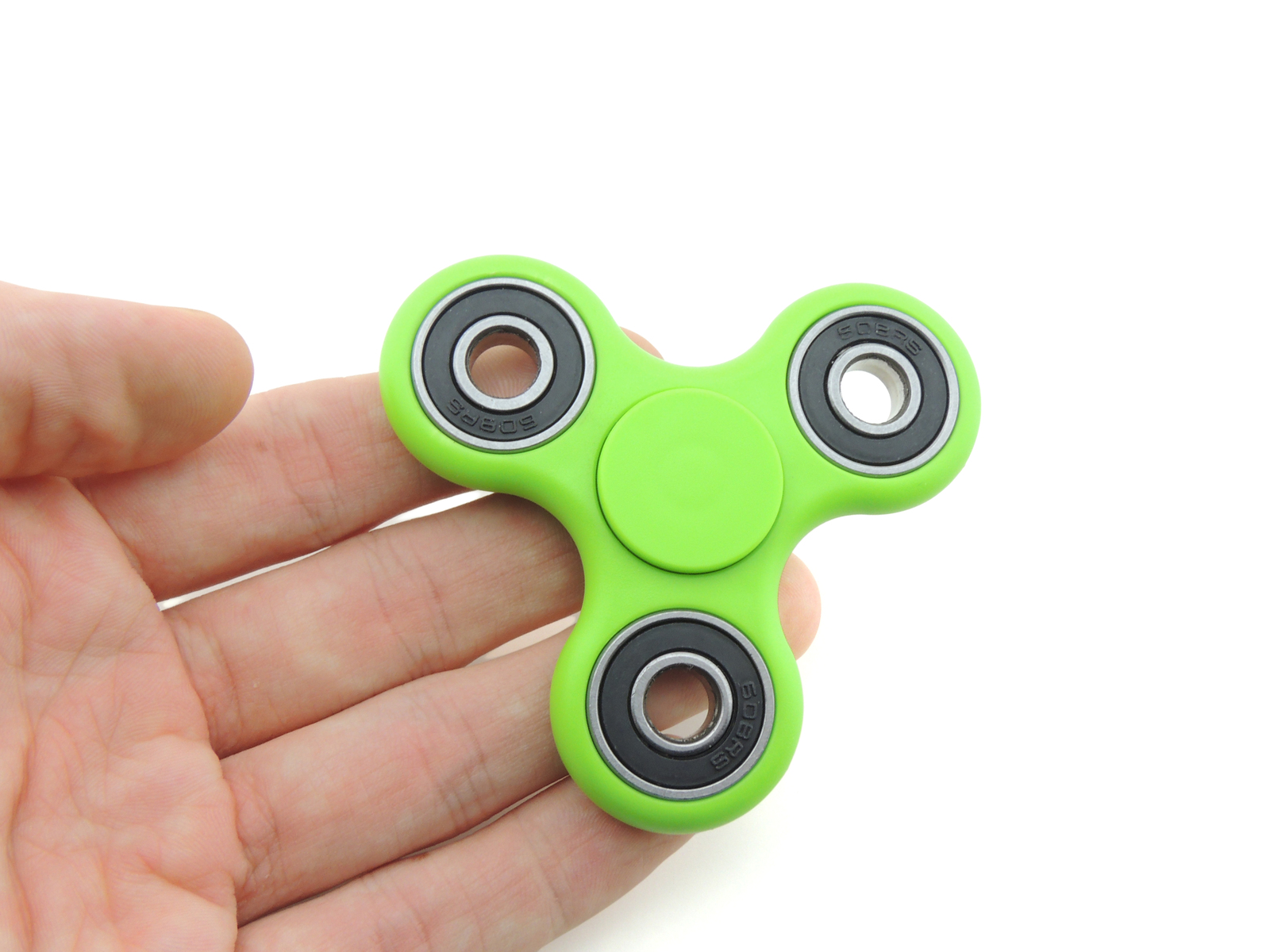 Tri fidget spinner edc finger hand spinner focus anxiety stress relief desk toy green in hand