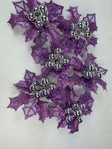 Set 6 Lavender Silver Poinsettia Glitter Clip On Christmas Tree Wreath Ornaments - $18.50