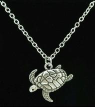 Turtle Pendant, Necklace, Tortoise, Women's, Girls, Silvertone - $0.99