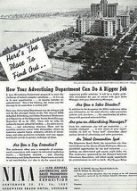1937 Edgewater Beach Hotel Lake Michigan NIAA Expo AD Aerial View - $14.99