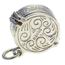 Sterling 925 British Silver Charm Opening Casino Roulette Wheel with Pistol - $36.94