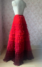 Red Tiered Maxi Skirt Outfit High Waisted Plus Size Tiered Long Tulle Skirts  image 3