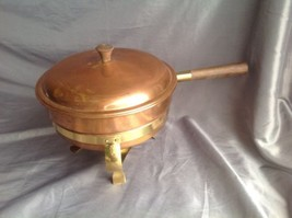 Brass & Copper Sterno Chafing Dish w Burner, 3 Legged Stand 5 Pieces Italy - €22,80 EUR