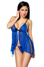 PICARDÍAS UNDERWEAR Negligé Azul Real Azul Transparente incl. Tirantes L... - $24.71