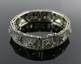 Vintage .925 Sterling Silver Square Marcasite Filigree Bangle Bracelet 3... - $44.99