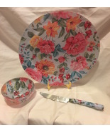 Chintz Floral Fabric Backed Plate, Knife and Small Bowl Pink Blue  - $15.99