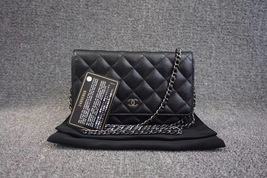 100% AUTH CHANEL 2018 Black Caviar Leather WOC Wallet on Chain WOC Bag SHW
