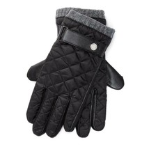 Polo Ralph Lauren Men's Quilted Field Gloves Nylon Leather Black Gray SZ... - $52.17