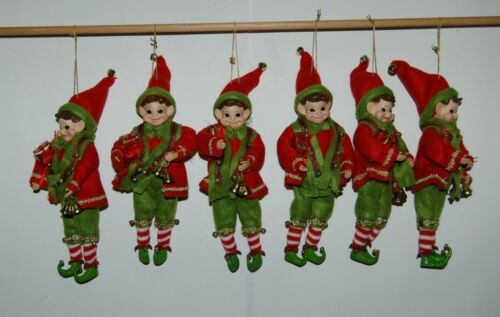 American Silkflower Eoo834 Elf 8 Inch Ornament 6 Set Felt Clothes