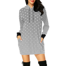 Hoodie Dress Tunic Length Gray Polka Dot - €36,43 EUR