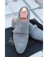 Handmade Men Gray color Suede monk shoes, Men double monk Formal shoes M... - $169.99
