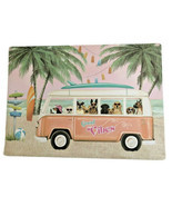 Pink VW Bus Placemats Dogs Dog of 4 Vinyl Beach Summer House Patio Foam ... - £24.81 GBP