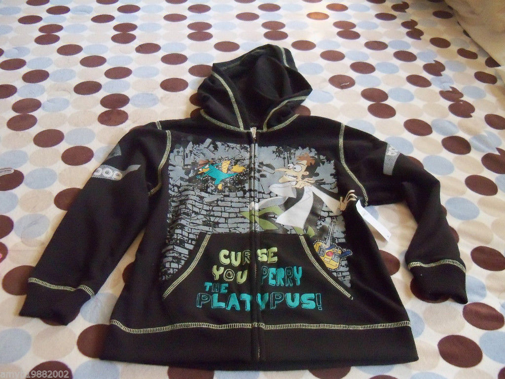 Primary image for Disney's Perry the Platapus Black Zip Up Hoodie Size 5/6 CHILDREN'S NEW HTF