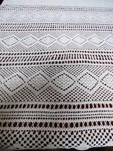 "Antique VTG Handmade Crochet White Lace Diamond Pattern Tablecloth 74"" x... - $94.05"