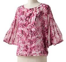 Dana Buchman Pink Chiffon Floral Print Poncho White Camisole Cami Top Bl... - $29.99