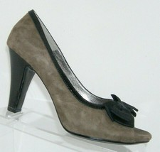 Sofft Rembrandt taupe gray suede peep toe grosgrain bow slip on heels 9.5M - $31.43