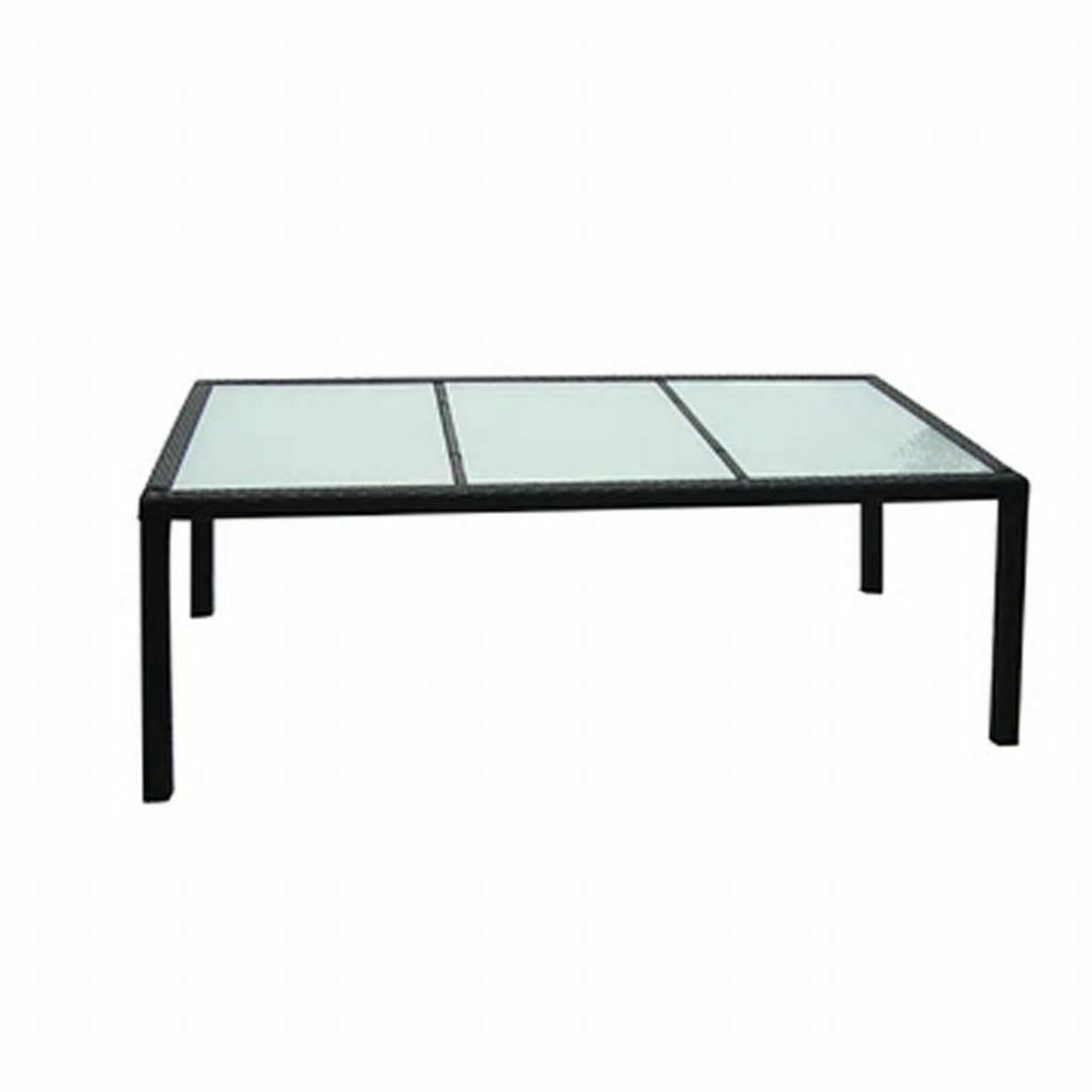 "vidaXL Outdoor Dining Table Poly Rattan 74.8""x35.4""x29.5"" Black Garden Desk"