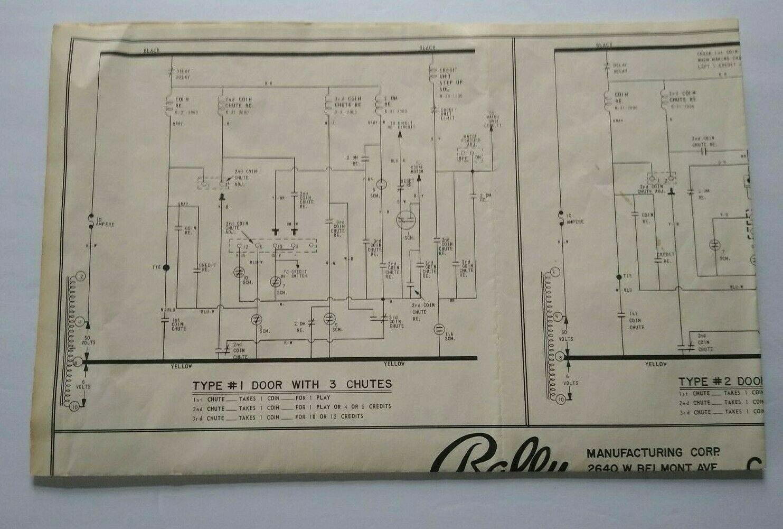 Bally Pinball Machine Coin Chute Circuits Wiring Diagram Schematic Sheet 1974