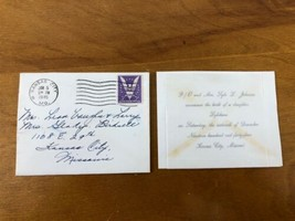 Birth Announcement Daughter WWII Air Force KIA Letter 1945 Kansas City M... - $49.49
