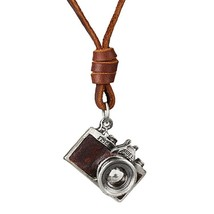 Men/women Necklace, Camera Pendant maxi necklace, Men choker,Genuine Lea... - $11.55