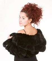 Luxury gift/ Black Rex Fur Bolero /Bell Bottom Sleeves Women's Brand New /Weddin image 4