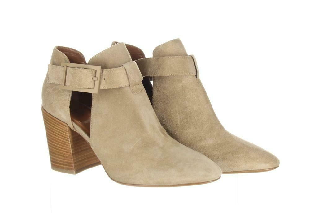 Aquatalia Women's Suede Cutout Booties Tan Ankle Boots Booties Sz. 10.5.