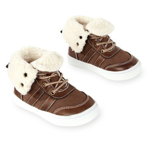 Koala Kids Sherpa Lined Brown Lace Up Shoe - Toddler Boys  Size 5   NWT
